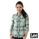 Lee 格紋拼布長袖襯衫-女-藍