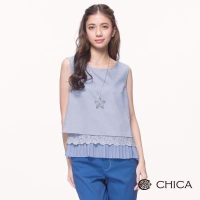 CHICA 氣質甜心蕾絲拼接無袖設計上衣(2色)
