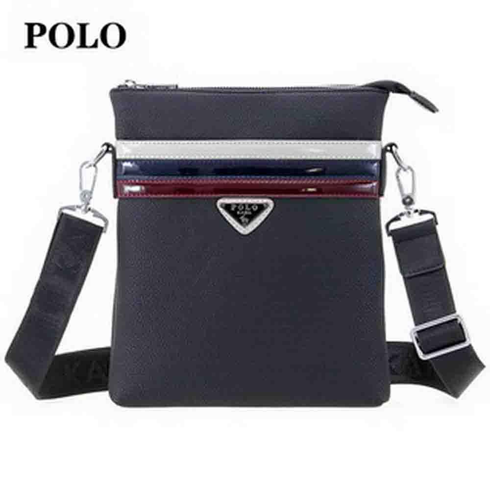 【POLO】英倫系列男用拉鍊側背包-黑色