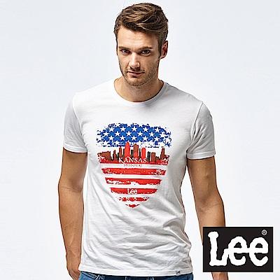 Lee KANSAS盾牌短袖圓領T-男款-白
