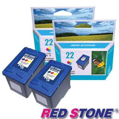 RED STONE for HP C9352A環保墨水匣組(彩色×2)NO.22
