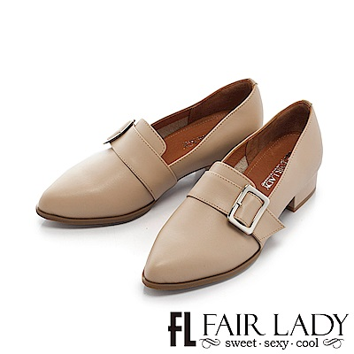 Fair Lady 英倫時尚方釦裝飾粗跟鞋 杏