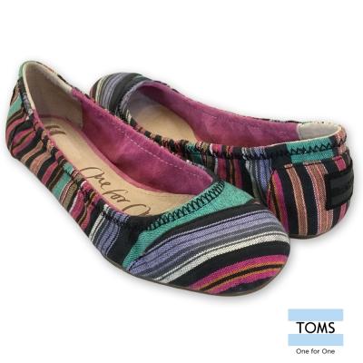 TOMS 撞色線條芭蕾娃娃鞋-女款(彩條)