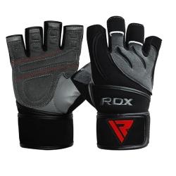 【RDX】英國 RDX男性皮革綁帶式健身手套/黑灰