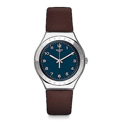 Swatch 就是SWATCH TANNAGE 藍棕風尚 手錶