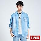 EDWIN 築地系列刷破牛仔長袖襯衫-男-重漂藍