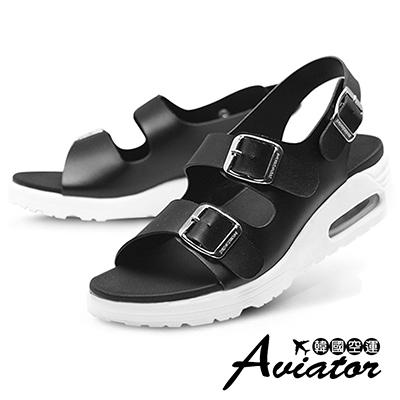 Aviator韓國空運-Paperplane-正韓製質感皮革氣墊雙扣寬帶涼鞋-黑