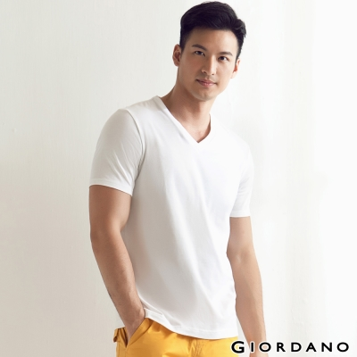 GIORDANO-男裝G-COOL涼感吸濕排汗V領TEE-01-標誌白