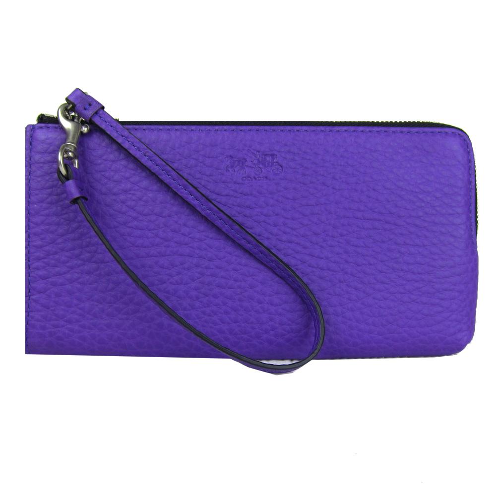 COACH 馬車印荔枝紋素面長型手拿包(紫) @ Yahoo 購物