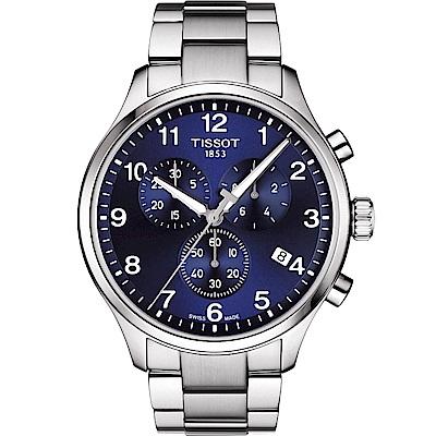 TISSOT天梭 韻馳系列CHRONO XL 大徑面計時腕錶-藍/45mm