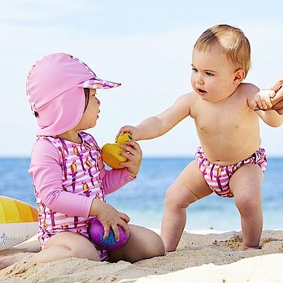 澳洲 RASHOODZ 兒童抗UV防曬半身泳衣附遮陽帽 (Polly小鸚鵡)