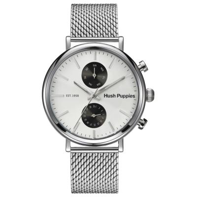 Hush Puppies潮流品味玩家米蘭腕錶-銀白/43mm