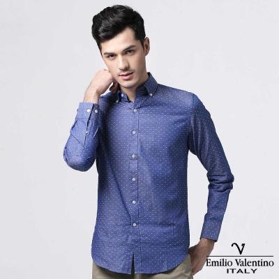 Emilio Valentino 范倫提諾圓點緹花修身襯衫-藍
