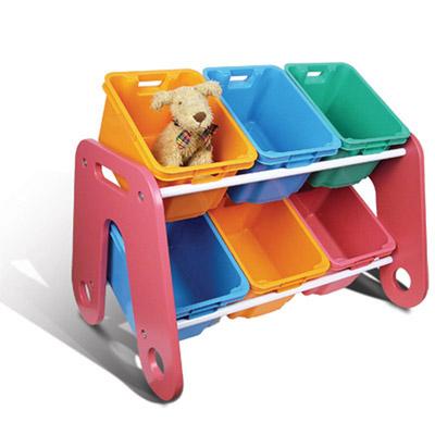 【創意達人】雙層六格玩具收納架