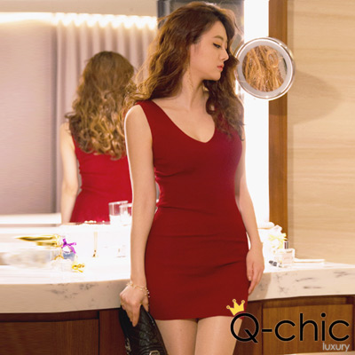 正韓 無袖V領露背針織洋裝 (共四色)-Q-chic