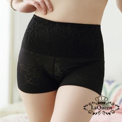 塑褲-舒適高腰蠶絲修飾褲-黑-La-Queen