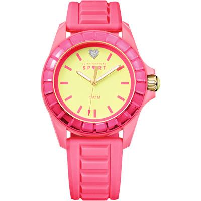 Juicy Couture 馬卡龍TR90晶鑽心腕錶-黃x粉紅/40mm