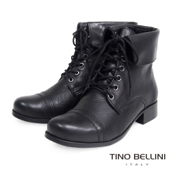 Tino Bellini 巴西進口翻領綁帶短靴_黑