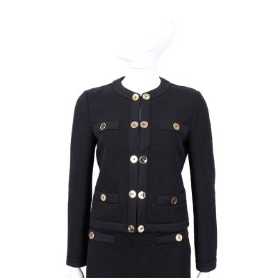 MOSCHINO 黑色金釦車線設計外套