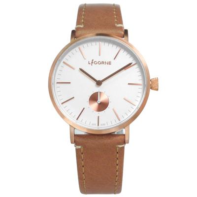 LICORNE力抗 極簡設計小秒針藍寶石水晶防水真皮手錶-白x玫瑰金框x卡其/36mm