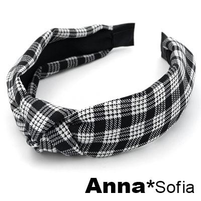 【2件7折】AnnaSofia 復古細格中央結 韓式寬髮箍(黑白系)