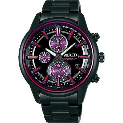 WIRED 炫彩時尚三眼計時腕錶(AF8T23X1)-鍍黑x紫/43mm