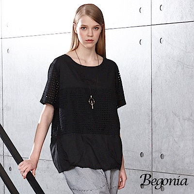 Begonia 圓領鏤空織洞上衣(白色)