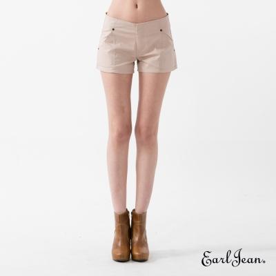 Earl Jean 純色低腰棉質短褲-淺卡其-女