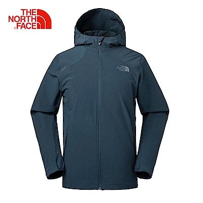 The North Face北面男款藍色防風彈力運動風衣