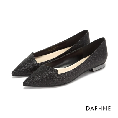 達芙妮DAPHNE 平底鞋-細紋金蔥菱形拼接低跟尖頭平底鞋-黑
