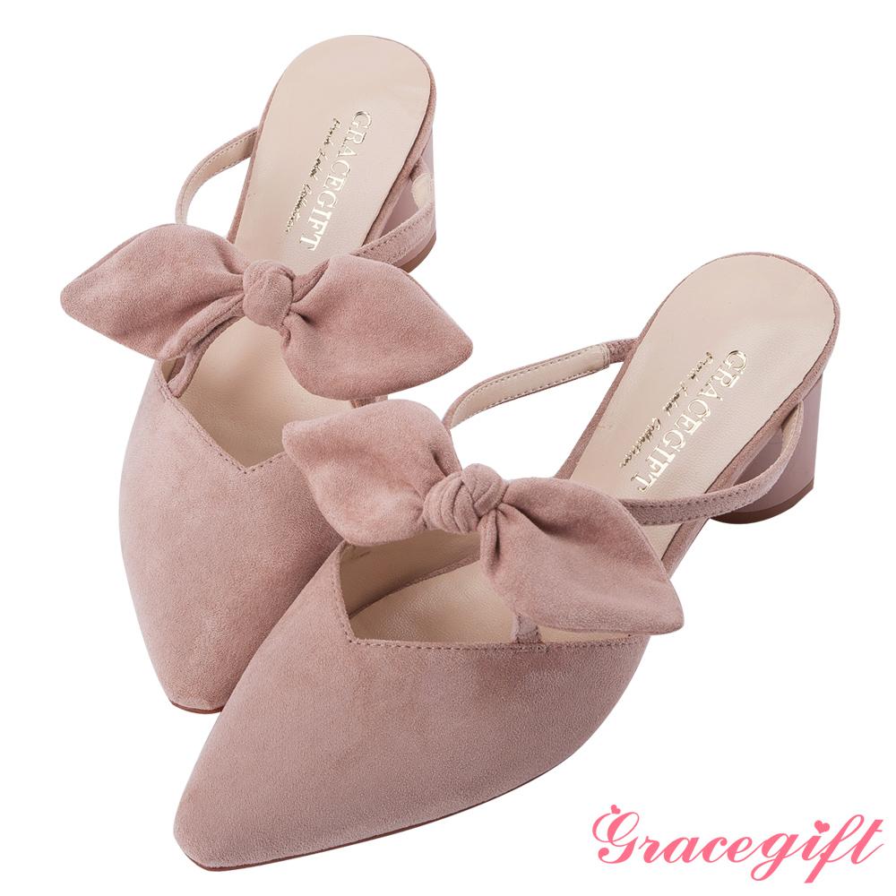 Grace gift-蝴蝶結尖頭漆跟穆勒鞋 杏