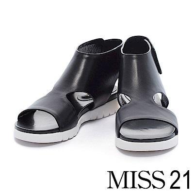 涼鞋 MISS 21 極簡主義鏤空造型牛皮厚底涼鞋-黑