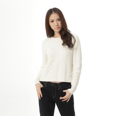 Lee 長袖圓領針織衫 -女款-白