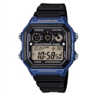CASIO 10年電力亮眼設計方形數位錶(AE-1300WH-2A)藍框x黑錶圈/42mm