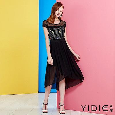 【YIDIE衣蝶】韓版微透飄逸裙襬連身洋裝