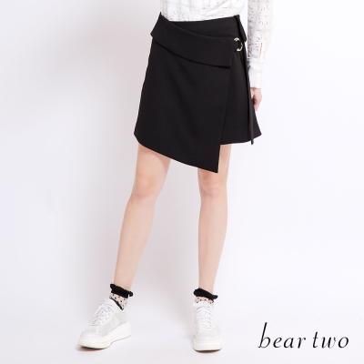 beartwo 金屬圓環圍裹式造型短裙(黑色)-動態show