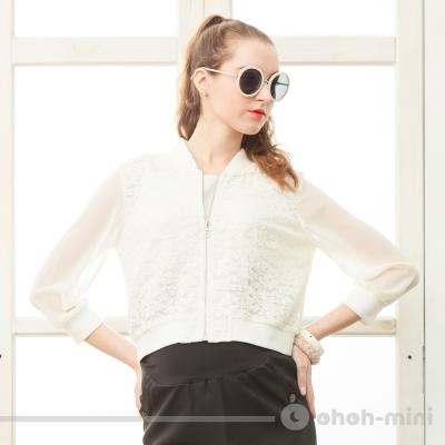 【ohoh-mini 孕婦裝】輕熟女蕾絲款運動短版外套