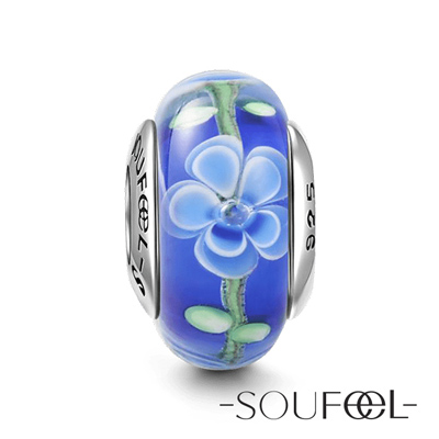 SOUFEEL索菲爾925純銀珠飾長春花琉璃珠