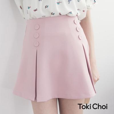 東京著衣 素色打褶高腰短裙-XS.S.M.L(共二色)
