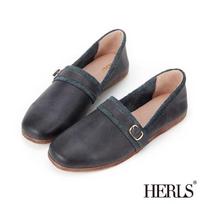 HERLS 全真皮 單釦配色滾邊懶人樂福鞋-深藍