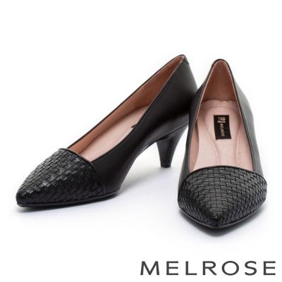 跟鞋 MELROSE 簡約編織異材質尖頭低跟鞋-黑