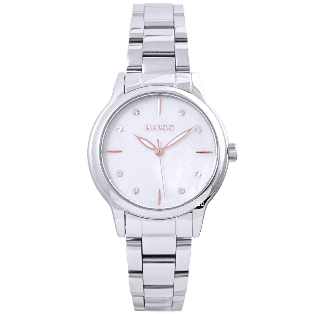 MANGO 璀璨晶鑽時尚手錶-銀白/32mm
