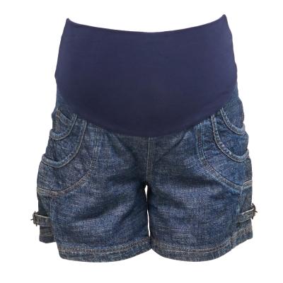 ohoh-mini孕婦裝 酷炫單寧扣環孕婦牛仔短褲