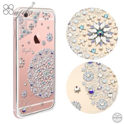 apbs iPhone6s/6 PLUS 施華洛世奇彩鑽鋁合金屬框手機殼-玫瑰金...