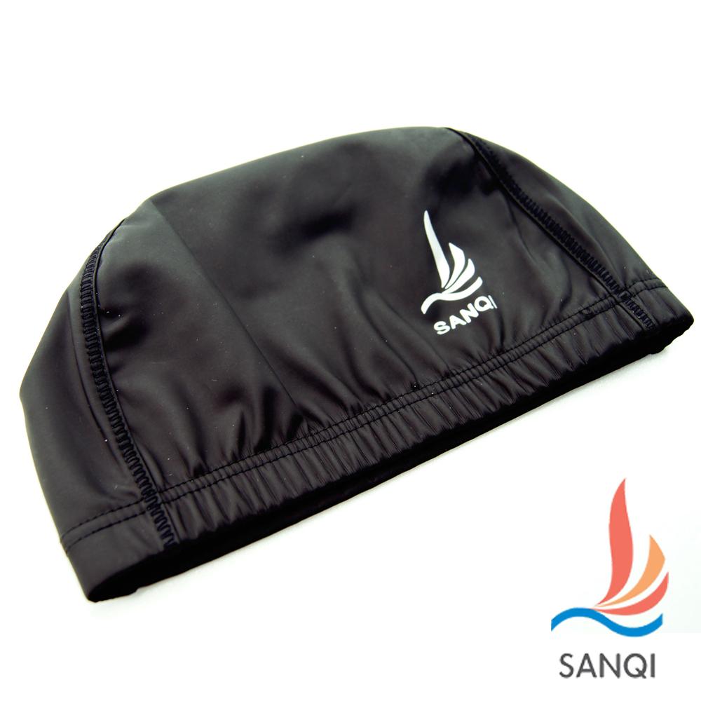SANQI三奇 涼夏休閒泳帽高彈力防水(黑F)