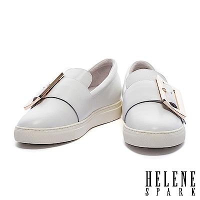 休閒鞋 HELENE SPARK 簡約大型金屬方釦全真皮厚底休閒鞋-白