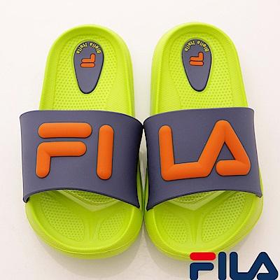 FILA頂級童鞋 輕量止滑拖鞋款 FO31S-636綠藍(中小童段)