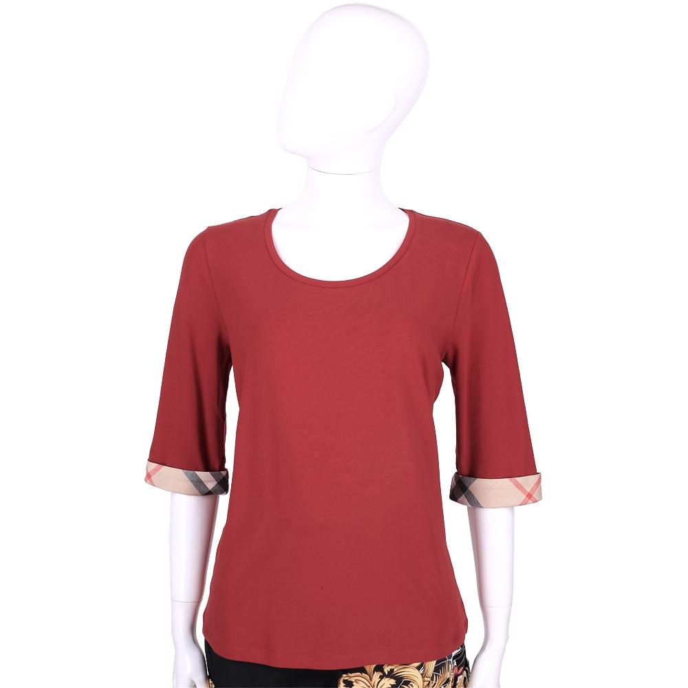 BURBERRY BRIT系列 經典格紋設計七分袖棉質上衣(紅色)