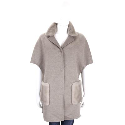 Manzoni 24 灰色皮草拼接大寬袖羊毛大衣(70%WOOL)