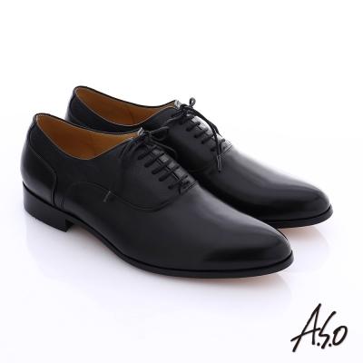A.S.O 尊榮青紳 全牛皮綁帶紳士鞋 黑色